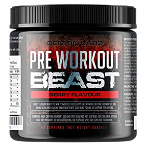 51r0P751PyL. SS300  - Pre Workout Demon (Berry Flavour) - Hardcore pre-Workout Supplement with Creatine, Caffeine, Beta-Alanine and Glutamine…