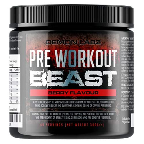 51r0P751PyL. SS500  - Pre Workout Beast (Berry Flavour) - Hardcore pre-Workout Supplement with Creatine, Caffeine, Beta-Alanine and Glutamine (Regular - 306 Grams - 40 Servings)