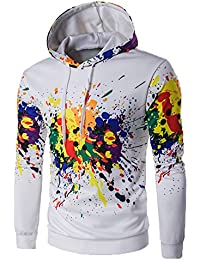 BUSIM Men's Long Sleeve Sweater Autumn Winter Casual Print Hoodie Solid Color Hooded Sweatshirt Pullover Jacket...