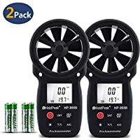 Holdpeak 2Pcs 866B Digital Anemometer Handheld LCD Wind Speed Meter for Measuring Wind Speed, Temperature and Wind Chill with Backlight and Max/Min Data