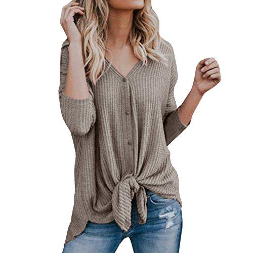 GOKOMO Damen lose asymmetrisch Jumper Sweatshirt Pullover Bluse Oberteile Oversize Tops Oberteil t Shirt v Ausschnitte t-Shirt Tshirt(Khaki,XX-Large)