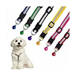 #3: Pet Wholesalellar Reflective Safe Nylon Pets Collar With Bells Adjustable Length 6 Pc Puppy Dog Cat Collar (Color May Vary)