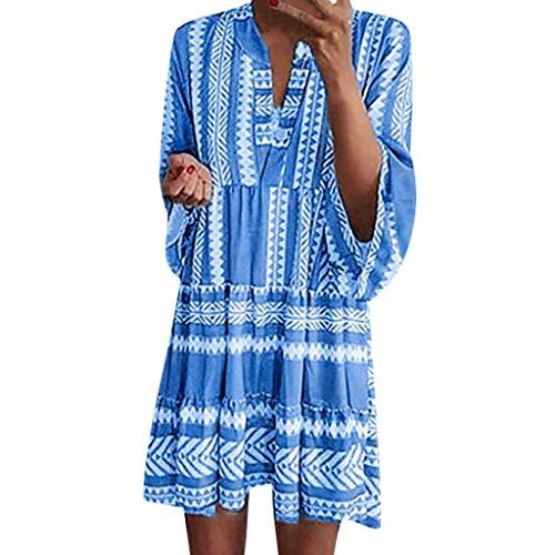 AMUSTER Damen Boho Strandkleid Langarm Tunika Sommerkleid V-Ausschnitt Kleid Lose Blumenkleid Floral Minikleid -