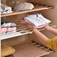 HyFanStr Wardrobe Storage, in Wardrobe Organiser, Closet Organiser for Clothes, Airing Cupboard Shelves, Extendable(50~80cm), NO Drilling