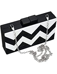 Acrylic Clutch Purse Black And White Clutches Handbags For Women With Chain For Cocktail Banquet Wedding By SSMY