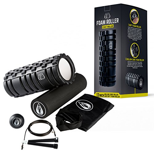 TeamSoda Fitness Massage-Set: 2 in 1 Faszienroller + Lacrosse Massageball + Speed rope