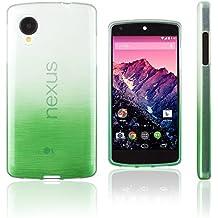 Xcessor Transition de Color Funda Carcasa Para LG Nexus 5. Flexible TPU Gel Con Gradient Hilo De Seda Textura. Transparente / Verde