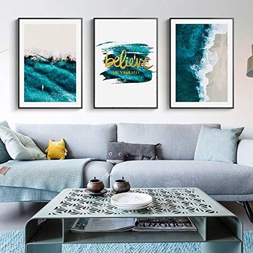 XWArtpic Moderne Nordic Blue Seascape Inspiring Life Quote Leinwanddruck Gemälde Poster Wandkunst Bild Hauptdekorationen 50 * 70 cm