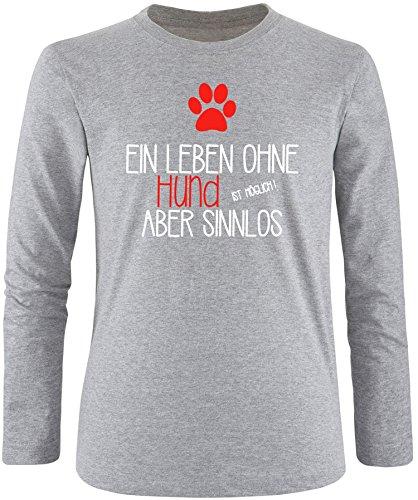 EZYshirt® Ein Leben ohne Hund ist möglich ! Aber sinnlos Herren Longsleeve Grau/Weiss/Rot