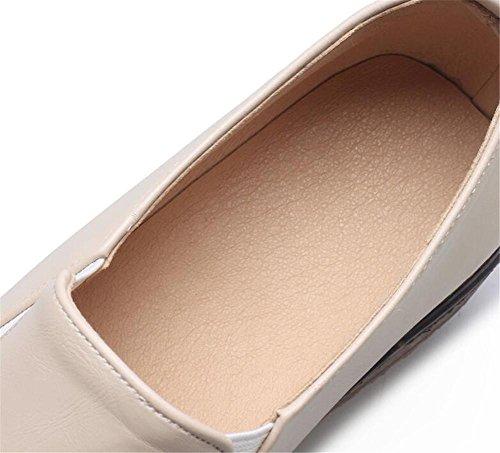Chaussures pour femmes Plate-forme PU Semelle Oxford élastique Mocassins Taille 35To42 beige