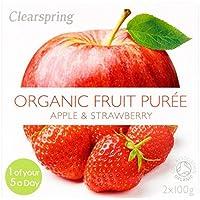 Clearspring Orgánica de manzana y puré de fresa 2 x 100 g