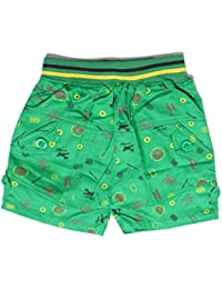Krystle Boy's Green Printed Cotton Shorts for Kids