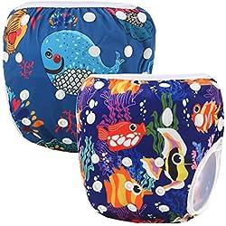 Storeofbaby Funda lavable para pañales de bebé reutilizable para Little Swimmer 2 Pack