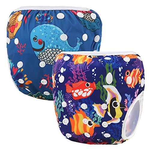 Storeofbaby Wiederverwendbare Schwimmwindeln waschbare Abdeckung für Neugeborene Kleinkind 2 Pack