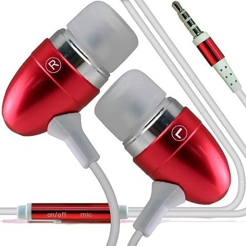 ONX3 T-Mobile Garminfone Calidad Premium en auriculares de botón estéreo de manos libres de auriculares Auriculares con micrófono Mic y botón de encendido y apagado (rojo)