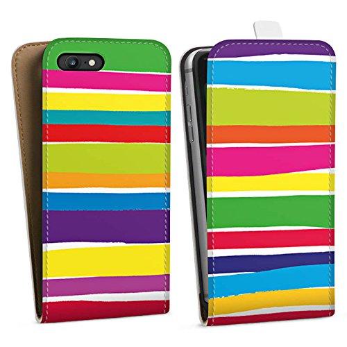 Apple iPhone X Silikon Hülle Case Schutzhülle Streifen Farben gestreift Downflip Tasche weiß