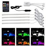 #8: CARTAINMENT Set of 4pcs 12 inch Multi-Color 8 Color Music LED Car Interior Underdashboard Lighting Kit Sound Activated IR Remote Control Atmosphere Lamp for Car.