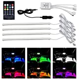 UDee Multi-Color Music LED Car Interior Under Dash Board Lighting Kit Sound Activated IR Remote Control Atmosphere Lamp