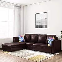 CasaStyle Carol 6 Seater Leatherette LHS L Shape Sofa Set (Brown)