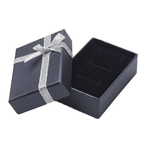 nbeads 48 PCS Noir Carton Bijoux Boîte Collier Boîtes Cadeau Présenter Présentoir avec Bowknot, 7x5x2.5cm