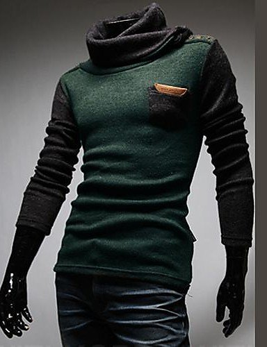 XX&GX Men's Fashion Turtle Neck Skin The Sweater , green , l - Pulsanti Turtle