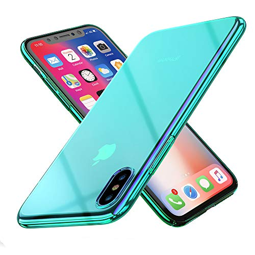 RAXFLY Compatible iPhone X Phone Case, Gradual Colorful Ultra Thin Electroplating Mint-Green Light Mirror Transparent Clear Hard Back Cover Replacement for iPhone X Hard Back Iphone