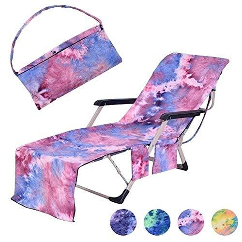 LABAICAI Tragbare Strandtuch Abdeckung mit Seitentaschen Strand Chaise Lounge Chair Handtuch ideal für Urlaub Sonnenbaden Strandkorb Abdeckung (Color : Purple) -
