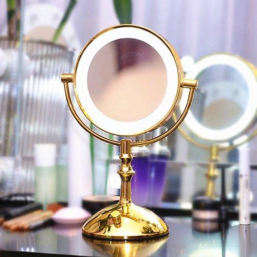 Mangeoo Desktop professional or miroir à LED, double couleur light, double phare latéral, toilettes, miroir miroir loupe,7 pouces lumière monochromatique d'or