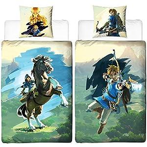 The Legend of Zelda Wende-Bettwäsche Arrow Linon Renforcé 135 x 200cm + 80 x 80cm 100% Baumwolle Breath of the Wild Hyrule Triforce Links Awakening Kinderbettwäsche deutsche Größe Reißverschluss