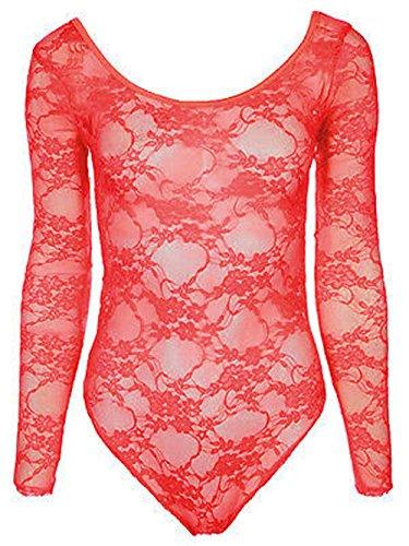 New Elegance Haut en dentelle florale Corps Body Body pour femme Tailles :  8–26 Vert - Corail
