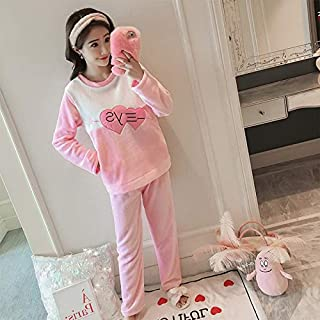 HAOLIEQUAN Casual Pajama Sets for Women 2-Piece Set New Winter Female Warm Pyjamas Nightgown Girl O-Neck Long Sleeve Cute Flannel Sleepwear,Aixin,L