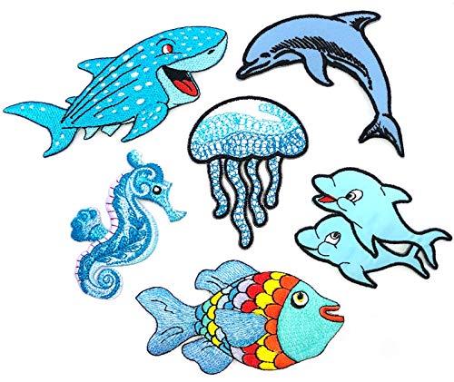 i-Patch - Patches - 0190 - Delfin - Wal - See-Pferd - Qualle - Meeres-Tiere - Hai-Fisch - Aquarium - Zoo - Applikation - Aufbügler - Flicken - Aufnäher - Sticker - Badges - Bügelbild - Jungen
