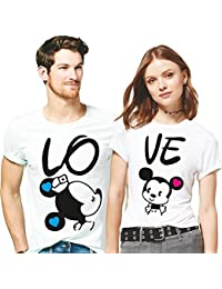 Hangout Hub Love Mickey Minnie Printed Men Women Tshirts 100% Cotton Casual Half Sleeve Round Neck White Color...