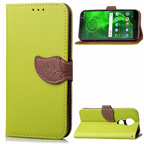 Casefirst Motorola Moto G6 Play Case, Motorola Moto G6 Play Leather Wallet Case Book Design with Flip Cover and Stand [Credit Card Slot] Cover Case for Motorola Moto G6 Play - Green Motorola Soft Leather Carry Case