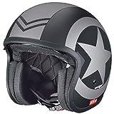 RC-590 Jethelm Custom Motorradhelm Chopper Chopper Motorrad Roller Helm rueger, Farbe:Black Star, Größe:M (57-58)
