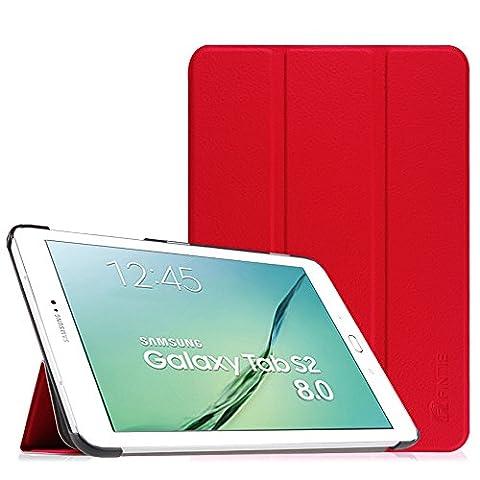 Fintie Samsung Galaxy Tab S2 8.0 Hülle Case - Ultra Schlank Superleicht Ständer Smart Shell Cover Schutzhülle Tasche mit Auto Schlaf / Wach Funktion für Samsung Galaxy Tab S2 8.0 T710 / T715 / T719 (8 Zoll) Tablet-PC, Rot