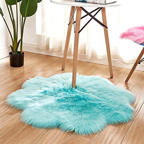 Goyoo coperte di zona stile moderno tappeti tappeto shaggy soft touch qualità di spessore mucchio di denso 60mm tappetini forma di fiore camera da letto soggiorno,lightblue