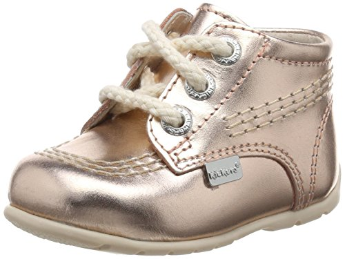 Kickers Kick Hi B Leather Metallic, Chaussures bébé fille Gold (Metallic)