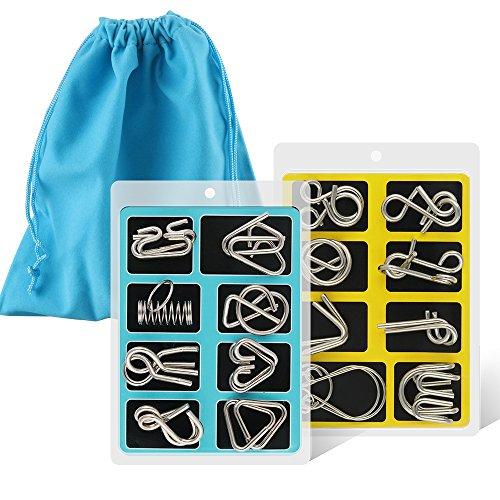 Coogam Metal Wire Puzzle Set de 16, Rompecabezas IQ Test Puzzle Desenreda Juego Magic Trick Toy Gift para niños y Adultos Challenge