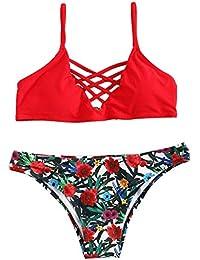 SOLYHUX Femme Maillots de Bain 2 Pièces Bikinis Dos Nu Taille Bas Push-up Rembourré Bikini à Bretelle Plage Rouge