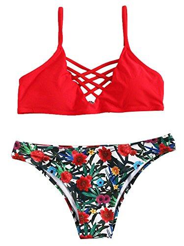 SOLYHUX Femme Maillots de Bain 2 Pièces Bikinis Dos Nu Taille Bas Push-up Rembourré Bikini à Bretelle Plage Rouge XXL
