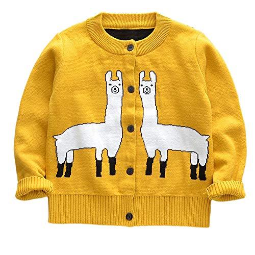 Bellelove☺Kleines Baby Jungen Mädchen Alpaka-Karikatur Lange Ärmel Pointelle Gestrickt Cardigan zur Seite Fahren Baby-pointelle