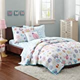 Mizone Kids Fluttering Farrah 8 Piece Complete Coverlet and Sheet Set, Multicolor, Full by Mi-Zone