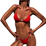 OVERDOSE Frauen Push-Up gepolsterte BH Beach Bikini Set Fest Damen Badeanzug Bademode (M, Red)