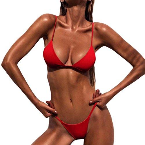 OVERDOSE Frauen Push-Up gepolsterte BH Beach Bikini Set Fest Damen Badeanzug Bademode (M, Red)