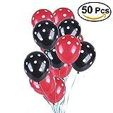 NUOLUX 50 piezas de látex polka punta 12 pulgadas de globos para la decoración fiesta de cumpleaños de la boda (Rojo y negro)