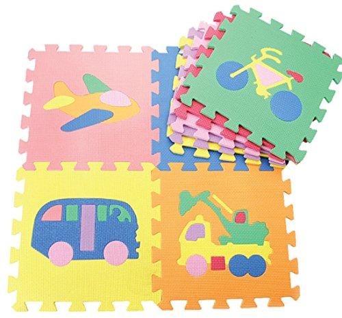 Alfombra de goma EVA para niños. Puzzles en cada pieza. 90 x 90 x 1 cm. Diseños de Transportes.