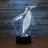 USB Angetrieben Pinguin 3D Touch optische ILLusion Nachtlicht atemberaubende visuelle Wirkung 7 Farben Tisch Schreibtisch Deco Lampe Schlafzimmer Kinderzimmer dekorative Nachtlicht Spielzeug Urlaub Geschenke