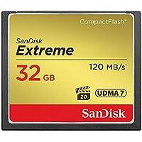 SanDisk SDCFXSB-032G-FFP - Tarjeta de memoria Compact Flash de 32 GB (velocidad de lectura de 120 MB/s, velocidad de escritura de 85 MB/s, UDMA 7)