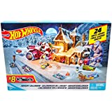 Hot Wheels- Calendario dell'Avvento con Tante Sorprese Ogni Giorno, Include 8 Veicoli Decorati, 16 Accessori e Un Tappeto Gioco, FKF95